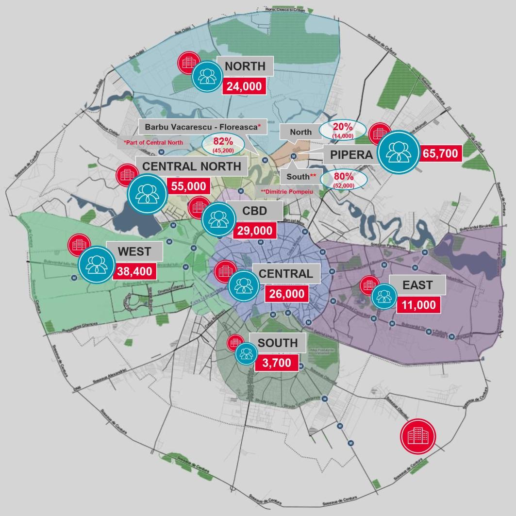 Harta Huburilor De Spatii De Birouri Din Capitala Dupa Numarul De