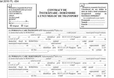 Formular nou, necesar in actele pentru inmatricularea auto in 2016