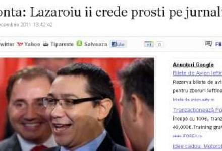 Ponta: Lazaroiu ii crede prosti pe jurnalisti