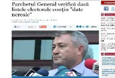 """Parchetul General verifica daca listele electorale contin """"date nereale"""""""