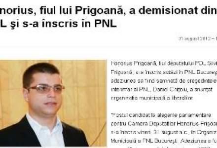 TRASEISM SI IN RANDUL CELOR TINERI: Honorius Prigoana a devenit PNL-ist