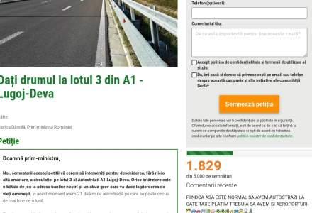 Petitie pentru deschiderea traficului pe lotul 3 din A1 - Lugoj-Deva: Viata oamenilor este mai importanta decat conflictele autoritatilor cu constructorii