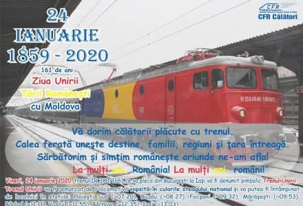 Trenul Unirii va face legatura intre Bucuresti si Iasi in 24 ianuarie, de Ziua Micii Uniri