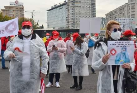 Membrii Consiliului Naţional al Federaţiei SANITAS protestează luni în faţa Guvernului