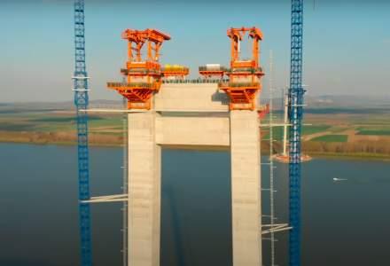 VIDEO: Cum evoluează construcția podului de peste Dunăre