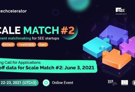 Techcelerator dă startul celei de-a doua ediții a Scale Match, eveniment de matchmaking regional dedicat startup-urilor high-tech