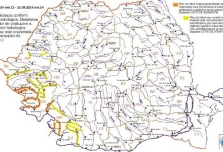 Avertizare meteo: cod portocaliu de inundatii, extins in Timis, Caras-Severin si Mehedinti