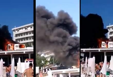VIDEO - Încă un incendiu! Două rulote mistuite de flăcări în Eforie Nord
