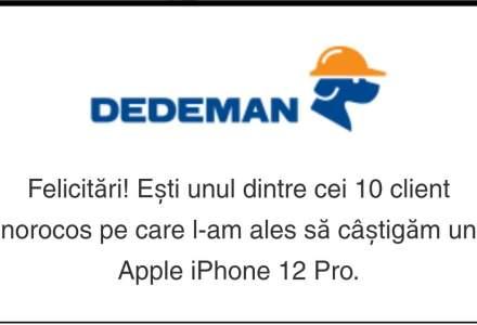 """""""Tombola DEDEMAN"""", un mesaj fals trimis de hackeri ce păcălește românii și îi face să creadă că au câștigat un premiu"""