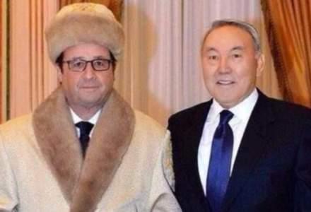 Francois Hollande, comparat cu Borat dupa ce a aparut intr-un costum traditional kazah