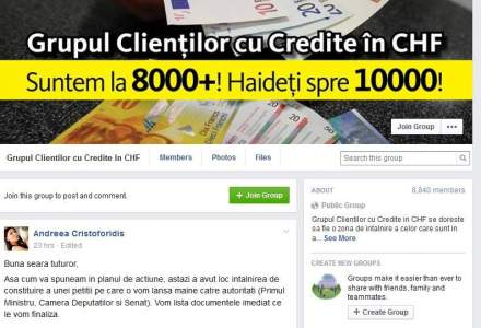 Romanii cu credite in franci s-au coagulat pe Facebook si pregatesc un protest