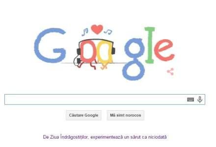 "Google a pregatit cateva logo-uri de Valentine's Day, pe tema ""un sarut ca niciodata"""