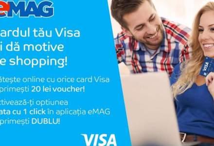 Visa Europe si eMag deschid parteneriatul strategic cu o campanie de incurajare a platilor cu un singur click. Poti primi vouchere de pana la 40 lei