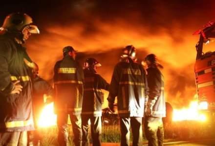 Incendiu puternic intr-o padure din Slanic Moldova. Zeci de pompieri intervin pentru singerea focului