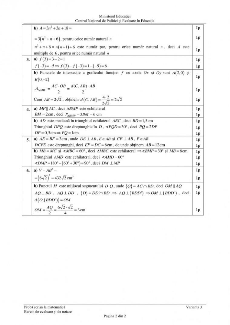 barem matematica evaluarea nationala 2021