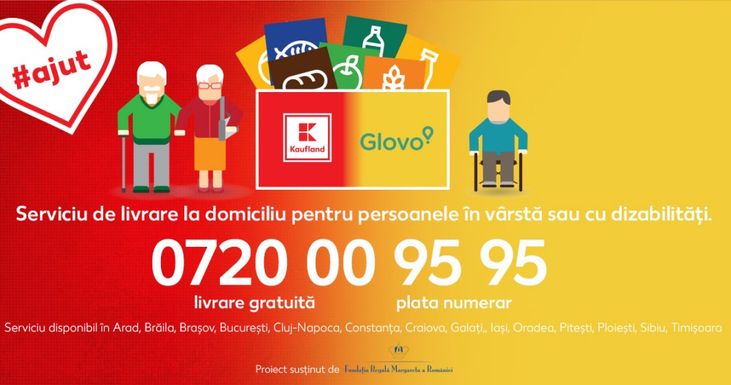 Kaufland și Glovo asigură livrare cu plata la domiciliupentru persoanele în vârstă sau cu dizabilități