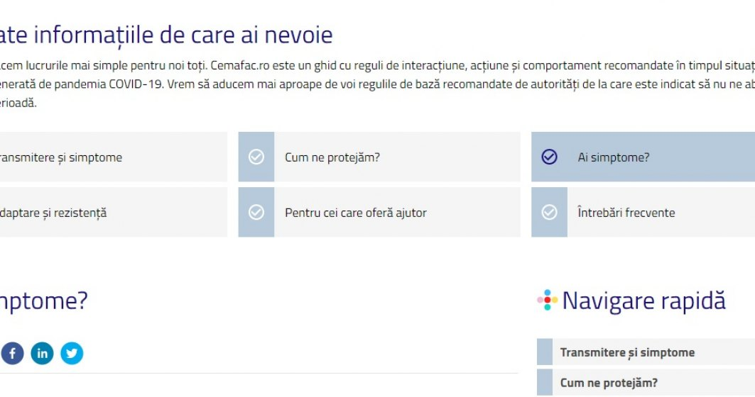 cemafac.ro   Site-ul care te ajută să afli cum te poți proteja de coronavirus și unde poți să-ți faci chestionarul de evaluare a simptomelor
