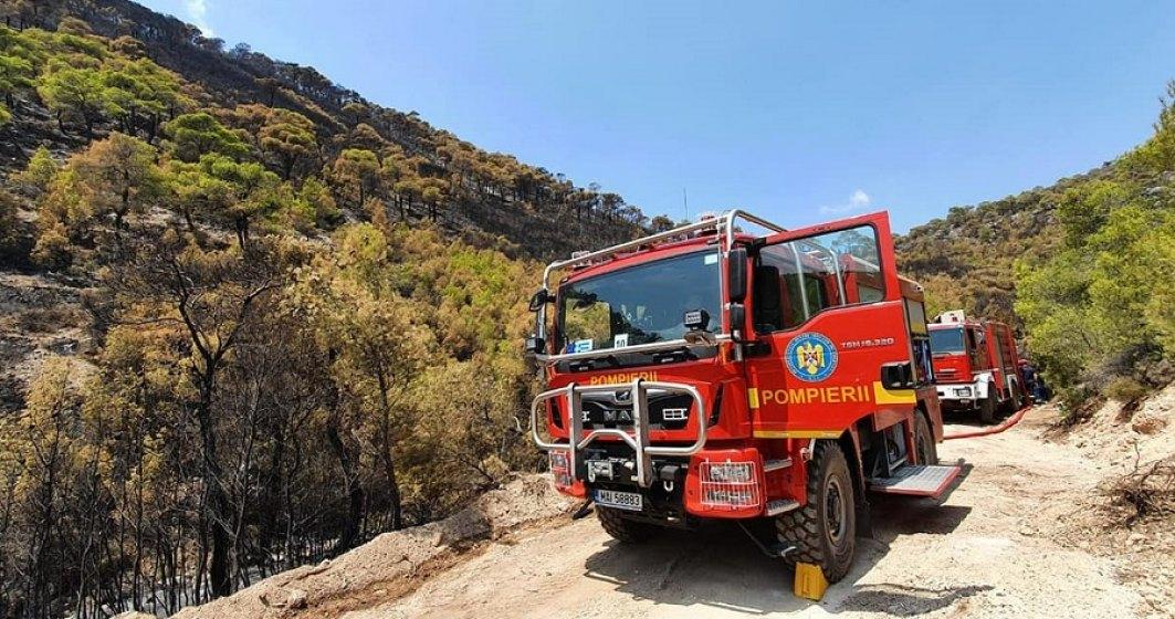 Pompierii români intervin pentru a stinge un nou incendiu izbucnit în Grecia