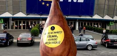 Protestatarii au venit cu un ciolan de 2 metri la Romexpo pentru liberalii...