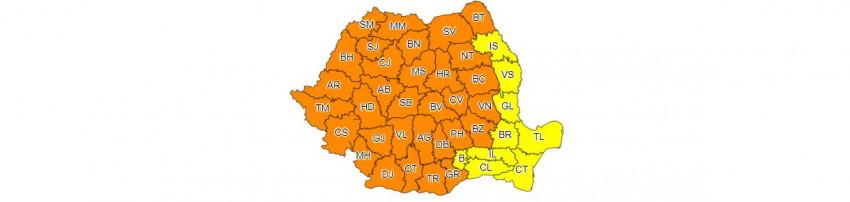 harta ANM cod portocaliu vijelii 25 iunie