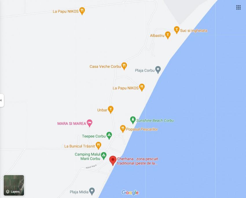 Plaja Corbu harta